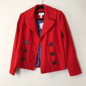 Bright Red Wool Blend Short Pea Coat S Forever 21